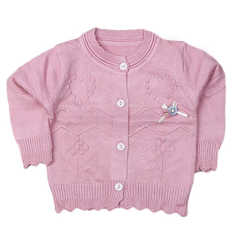 Newborn Girls Full Sleeves Sweater - Tea Pink