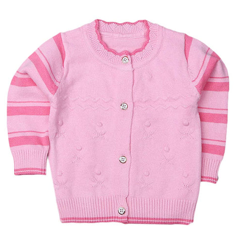 Newborn Girls Full Sleeves Sweater - Pink