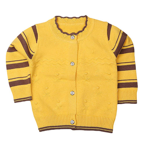 Newborn Girls Full Sleeves Sweater - Yellow