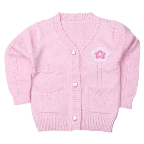 Newborn Girls Full Sleeves Sweater - Light Pink