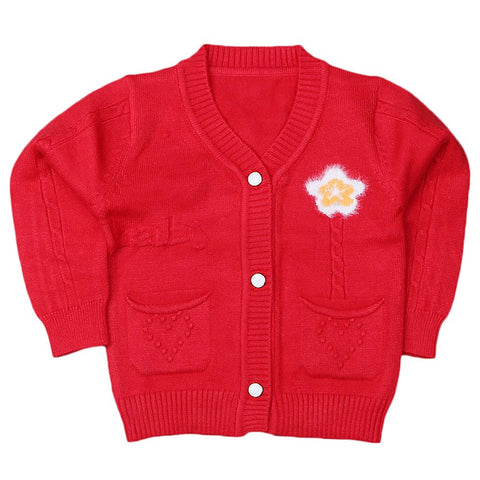 Newborn Girls Full Sleeves Sweater - Red