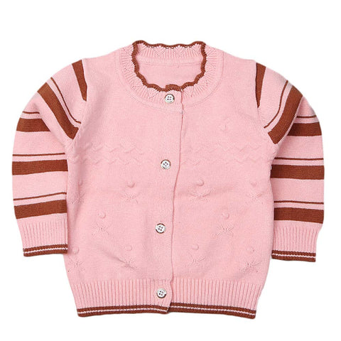 Newborn Girls Full Sleeves Sweater - Peach