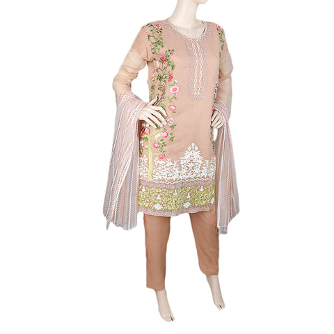 Eminent Fancy Embroidered 3 Piece Stitched Suit For Women - Brown