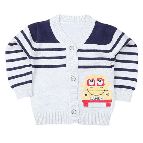 Newborn Boys Full Sleeves Sweater - Grey