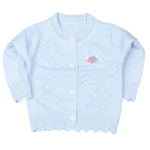 Newborn Girls Full Sleeves Sweater - Blue