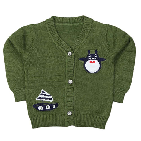 Newborn Boys Full Sleeves Sweater - Green