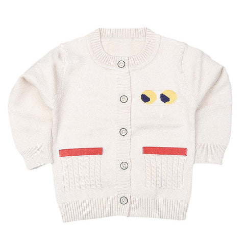 Newborn Boys Full Sleeves Sweater - Fawn