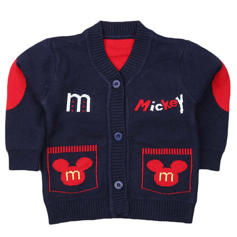 Newborn Boys Full Sleeves Sweater - Navy Blue