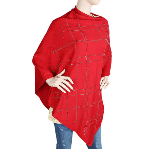 Women's Poncho - Red