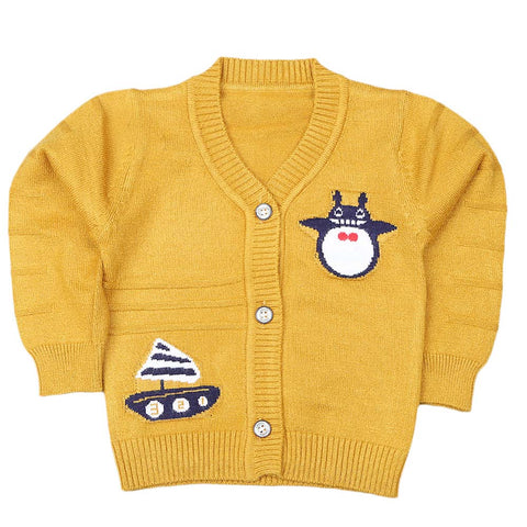 Newborn Boys Full Sleeves Sweater - Mustard