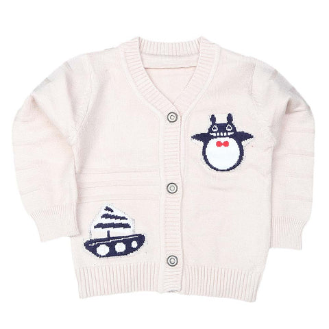 Newborn Boys Full Sleeves Sweater - Beige