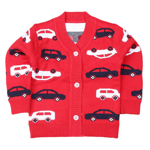 Newborn Boys Full Sleeves Sweater - Red