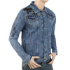 Men's Printed Denim Jacket - Dark Blue