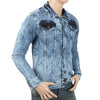 Men's Printed Denim Jacket - Blue