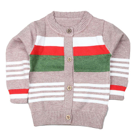Newborn Boys Full Sleeves Sweater - Peach
