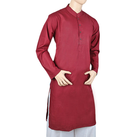 Men's Basic Kurta - Maroon