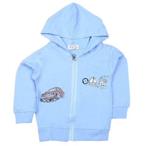 Boys Full Sleeves Hooded Zipper Upper - Blue