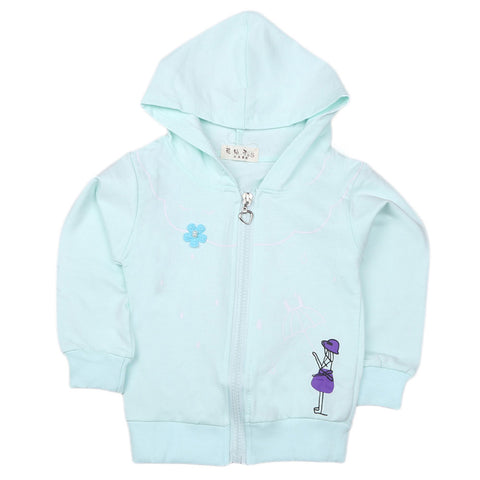 Girls Full Sleeves Hooded Zipper Upper - Cyan