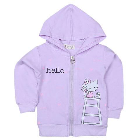 Girls Full Sleeves Hooded Zipper Upper - Light Purple