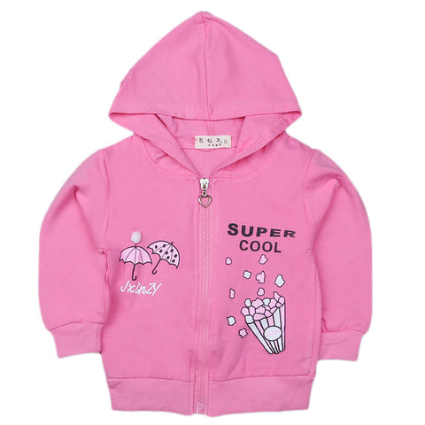 Girls Full Sleeves Hooded Zipper Upper - Pink