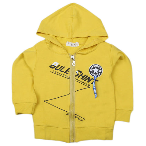 Boys Full Sleeves Hooded Zipper Upper - Yellow