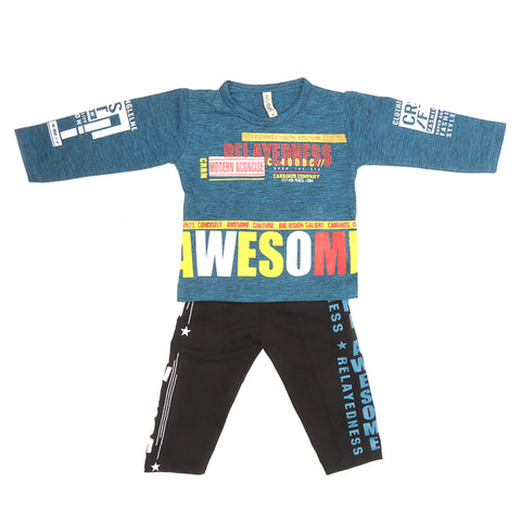 Boys Pajama Suit - Steel Blue