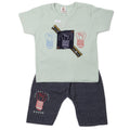 Boys 2 Pcs Suit Half Sleeves - Cyan