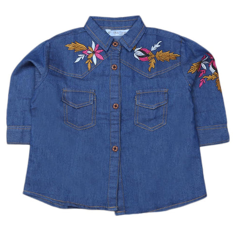 Girls Embroidered Denim Tops - Blue