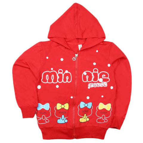 Girls Full Sleeves Hooded Zipper Upper - Red
