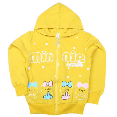 Girls Full Sleeves Hooded Zipper Upper - Yellow