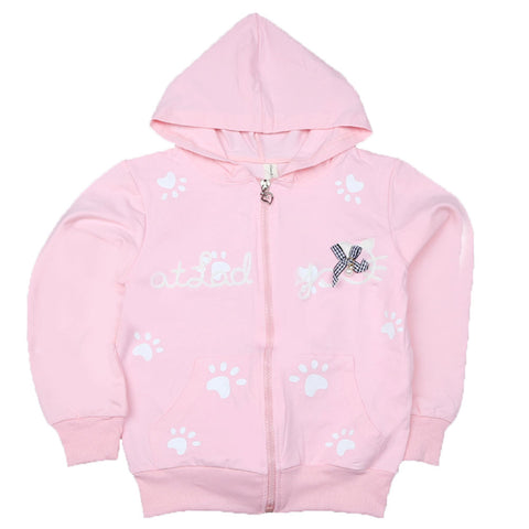 Girls Full Sleeves Hooded Zipper Upper - Light Pink