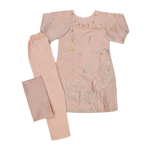 Girls Embroidered Fancy Suit 3 Pcs - Peach