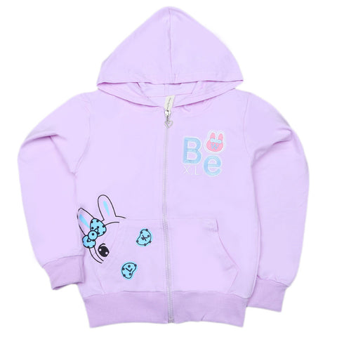 Girls Full Sleeves Hooded Zipper Upper - Purple