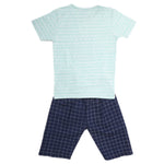 Boys Half Sleeves 2 Piece Suit - Cyan