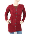 Women's Full Sleeves Sweater 8101 - Maroon