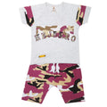 Boys 2 Pcs Suit Half Sleeves - Purple