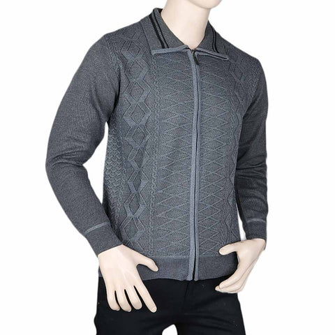 Men's Full Sleeves Zipper Upper - Grey