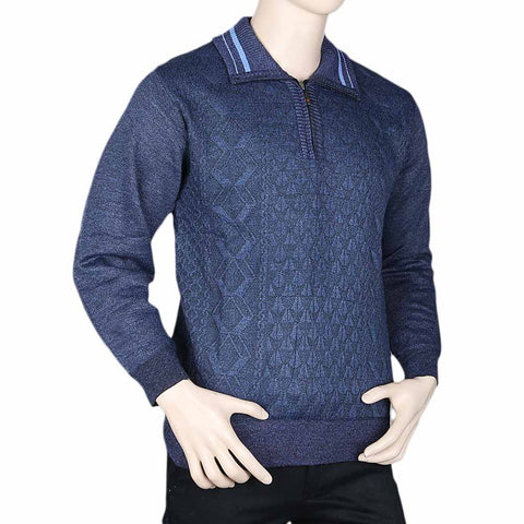 Men's Full Sleeves Sweater - Navy Blue