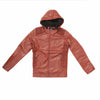 Boys Leather Jacket - Maroon