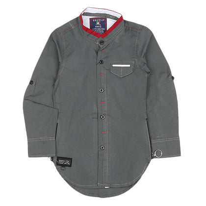 Boys Cotton Casual Shirt Full Sleeves - Grey