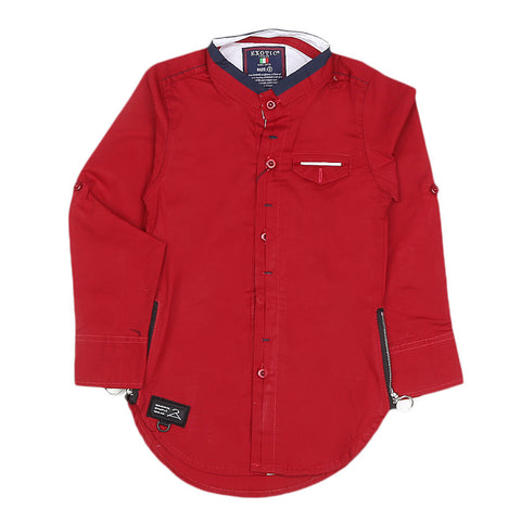 Boys Cotton Casual Shirt Full Sleeves - Red