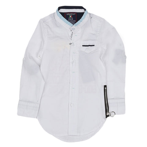 Boys Cotton Casual Shirt Full Sleeves - White