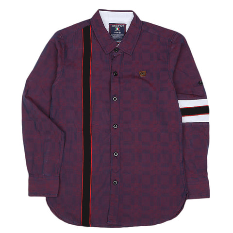 Boys Cotton Casual Shirt Full Sleeves - Purple