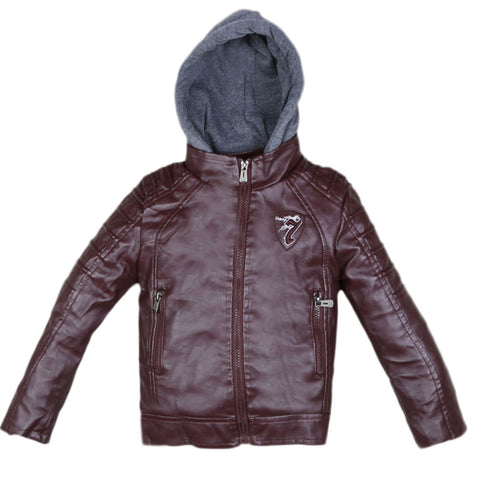 Boys Leather Jacket (8817) - Maroon