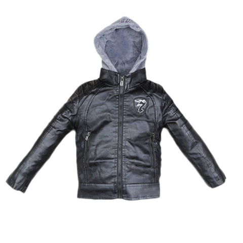 Boys Leather Jacket (8817) - Black