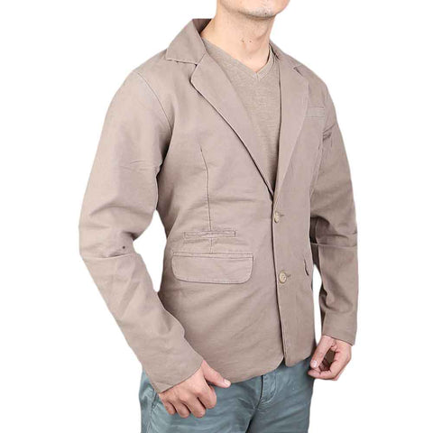 Men's Fancy Bone Pocket Cotton Coat - Grey
