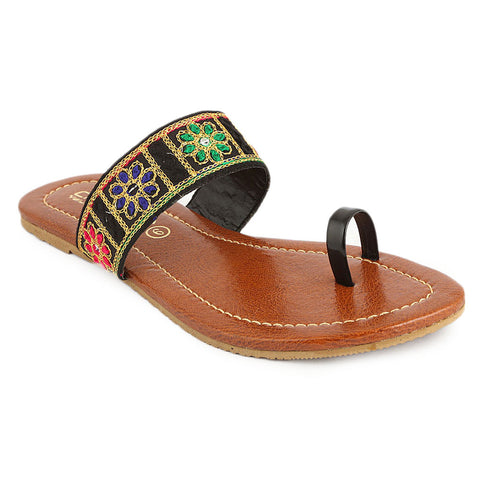 Women's Embroidery Slipper (SA-012) - Black - test-store-for-chase-value
