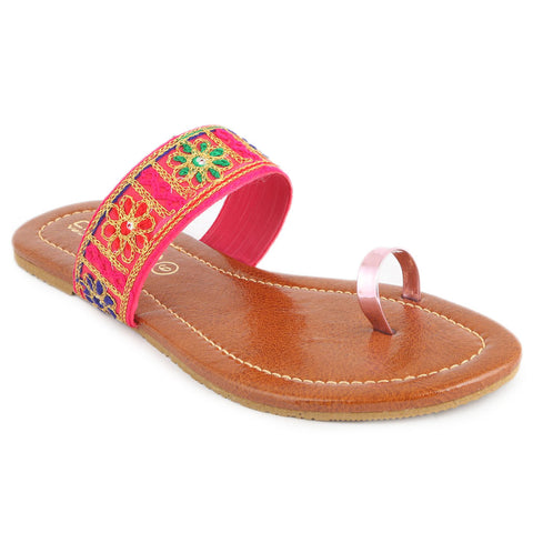 Women's Embroidery Slipper (SA-012) - Pink - test-store-for-chase-value