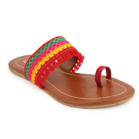 Women's Embroidery Slipper (SA-011) - Maroon - test-store-for-chase-value