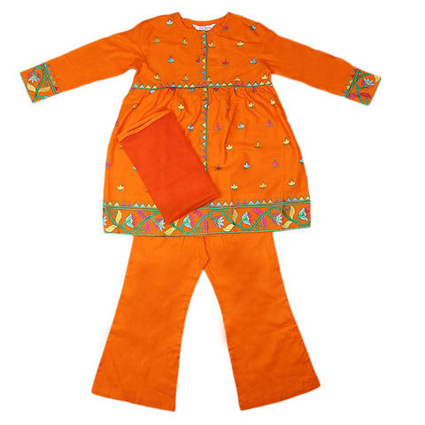 Girls Embroidered Cotton Suit 3 Pcs - Orange